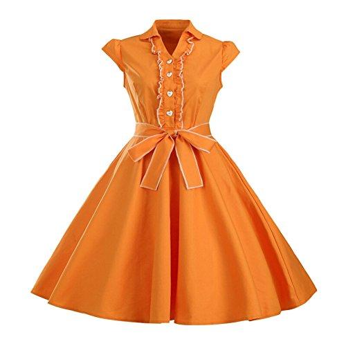 orange 60s dress - 7