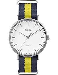 Timex TW2P90900GP Weekender Fairfield White Dial Blue and Yellow Nylon NATO Strap Watch