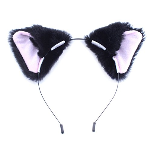 (MEXUD Orecchiette Party's Cat Fox Long Fur Ears Anime Neko Costume Hair Clip For Cosplay (Black&Pink))
