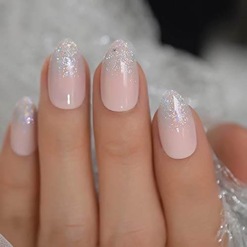 EDA LUXURY BEAUTY NATURAL NUDE PINK SILVER FRENCH GLAMOROUS DESIGN Full Cover Press On Gel Glitter Artificial Tips Acrylic False Nails Medium Long Oval Round Almond Stiletto Super Fashion Fake Nails