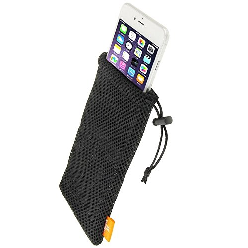 Universal Nylon Mesh Pouch Bag with Chain and Loop Closure for I-Mobile IQ 6.8 DTV DFV mobile Black