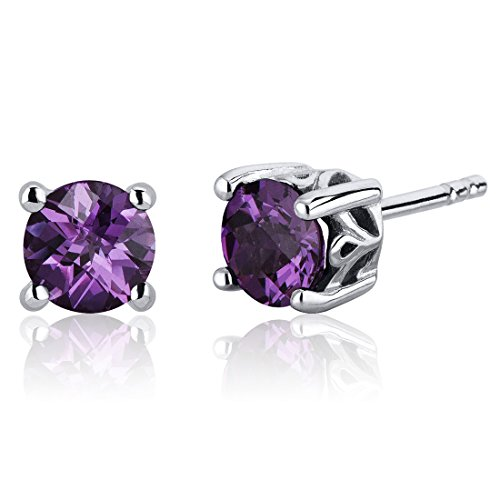 Scroll Design 2.50 Carats Simulated Alexandrite Round Cut Stud Earrings Sterling Silver (Design Earrings Scroll)