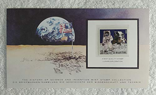 - Lunar Exploration - Postage Stamp (Mauritania, 1984) & Art Panel - The History of Science & Invention - Franklin Mint (Limited Edition, 1986) - Apollo 11, 15th Anniversary of the First Man on the Moon, Neil Armstrong & Buzz Aldrin, NASA, Space