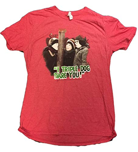 A Christmas Story Triple Dog Dare You Men's Festive Red Holiday Tee T-Shirt ()