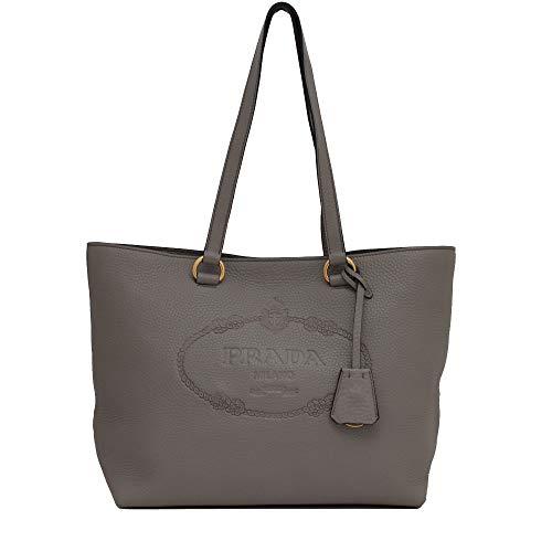(Prada Women's Gray Vitello Daino Leather Shopping Tote 1BG100)