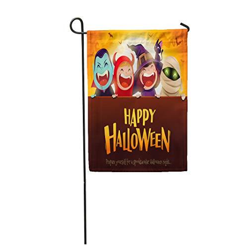 Semtomn Garden Flag Happy Halloween Party Group of Kids in Costumes Big 28