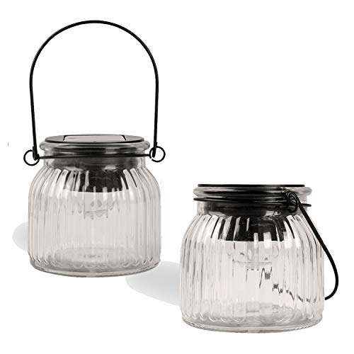 Glass Table Lantern - Solar Hanging Lights Outdoor - Christmas Decorative Jars Rotating Soalr Powered Glass Table Lamps Multi-Color and Warm White for Holiday,Party, Patio,Garden,Night Lamps