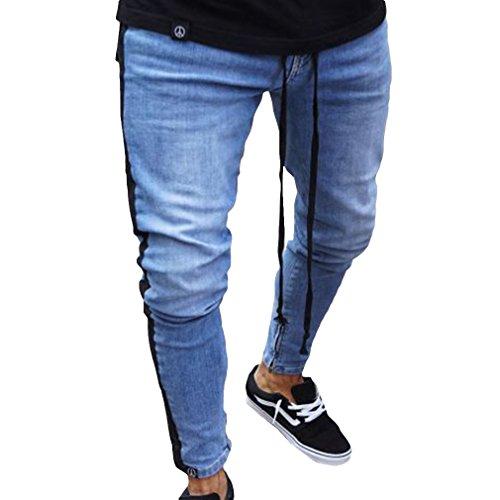 Juleya Azul Vaqueros Pantalones 3XL Agujero Lateral Leggings S Pantalones Bolsillos Pantalones con Pantalones Largos Claro Azul Vaqueros Oscuro Oscuro Azul Pitillo Tira Hombres frfA1q