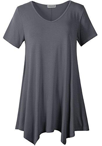 LARACE Women Casual T Shirt V-Neck Tunic Tops for Leggings(2X, Deep Gray)