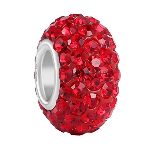 925 Sterling Silver July Birthstone Charm Bead Swarovski Crystal Elements fit All Charm Bracelets Women Girls Gifts EC684-7