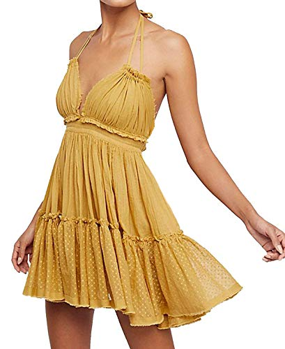 KENGURU COVE Women's Summer Boho Bohemian Deep V Neck Sexy Patchwork Mini Short Backless Beach Dresses (Yellow, Small) ()