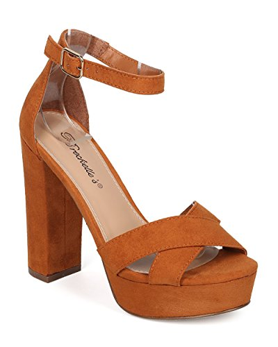 Ankle Strap Chunky Platforms (Breckelles Women Block Heel Sandal - Ankle Strap Heel - Platform Chunky Heel - HK72 by Tan Faux Suede (Size: 9.0))