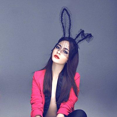 usongs fashion Halloween Annual nightclub rave sexy photo show women girls rabbit ears headband hair accessories veil ()