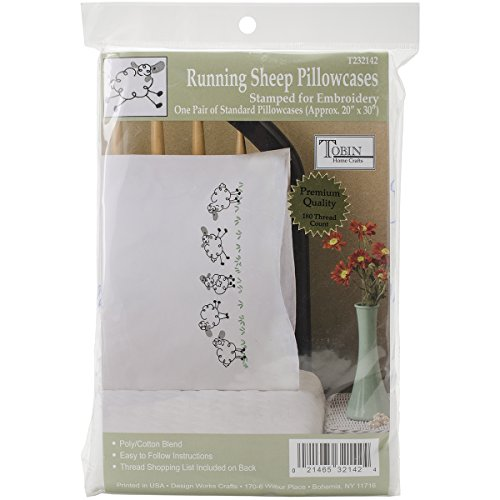 "Design Works Crafts Tobin 20"" x 30"" Stamped Pillowcases for Embroidery, Running Sheep"