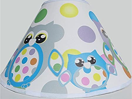 Grey and Yellow Owl Lamp Shade Childrens Woodland Forest Animals Lampshade Nursery Room Decor