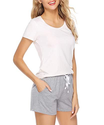 1b1c4efc5f Sykooria Womens Cotton Pajama Sleep Shorts Yoga Gym Bottoms Casual Soft Stretchy  Solid and Striped