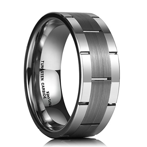 King Will CLASSIC 8mm Comfort Fit Flat Top Brushed Center Tungsten Carbide Ring Grooved Wedding Band(12)