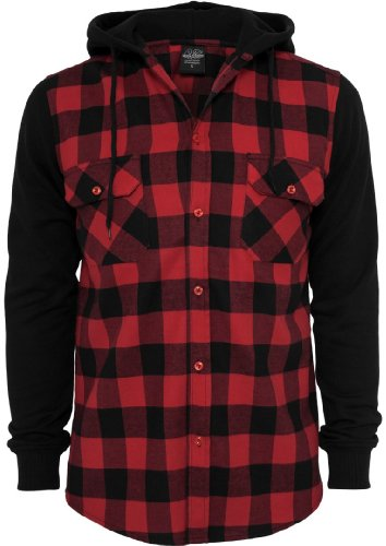Urban Classics Men's TB513 Hooded Checked Flannel Sweat Sleeve Shirt L Blk/Red/Bl