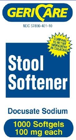 Geri-Care - Stool Softener Softgel - Capsule - 1000 per Bottle - 100 mg Strength - Docusate Sodium-McK