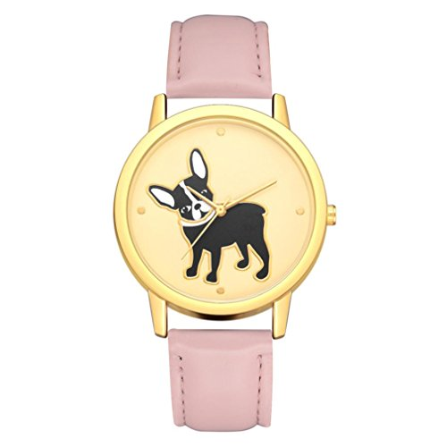 BEUU 2018 Puppy Leather Strap Watch New Wholesale Price Luxury Fashion Band Analog Quartz Round Wrist Watches Fashion Watches Quartz Men Women Men'S Jewelry Sport (B)