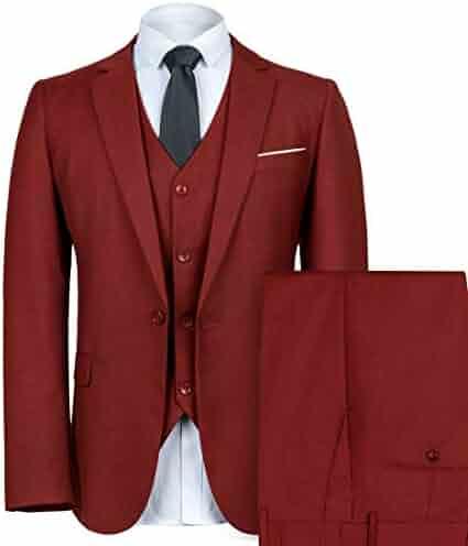 d345baab22df WEEN CHARM Mens Slim Fit Suit One Button Notch-Lapel 3 Pieces Suits Blazer  Tux