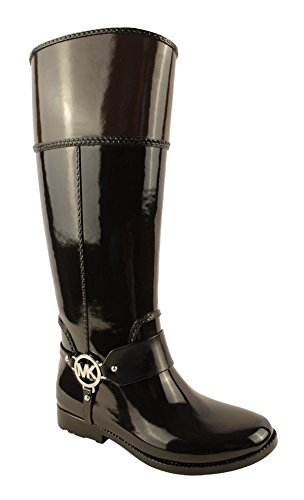 MICHAEL Michael Kors Women's Fulton Harness Tall Rain Boot,Black/Coffee,8 M US - Michael Kors Wedge Boots