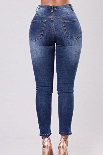 Le Rose Attillati Yacun Denim Donne Darkblue Vita Ricamati Jeans Strappata Alta wBBPq