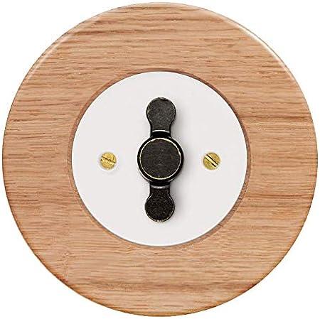 Interruptor empotrable unipolar completo blanco, con manecilla ZLN de aluminio patinada y cerco de madera de roble claro.