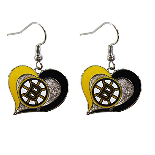 Bruins Heart - Boston Bruins Swirl Heart Earring NHL Dangle Logo Charm Gift