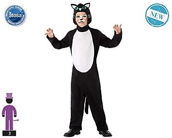 Atosa-61649 Atosa-61649-Disfraz Gato-Infantil Unisex, Color negro ...