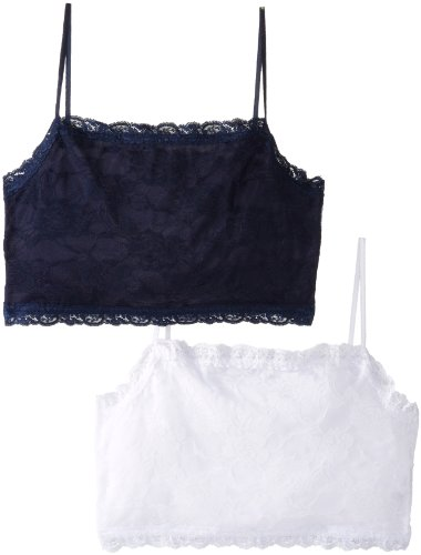Pure Style Girlfriends Plus-Size Camiflage 2-Pack Plus Size Lined Stretch Lace Half Camisole, Navy/White, 1X - Cami Stretch Lace Camisole Bra