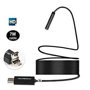CCbetter 2 in 1 USB Endoscope 2 MP 720p HD Camera 8.5mm IP67 Waterproof 6 Adjustable LEDs Digital Endoscope Inspection Camera for Android / MAC OS / windows with OTG and UVC function, 7M
