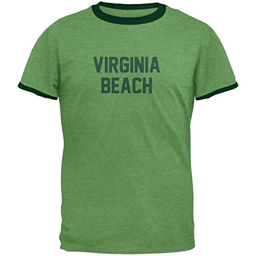 Old Glory Cities Vintage Virginia Beach Heather Green Men's Ringer T-Shirt - -