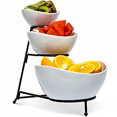Food Serving Bowl Set: 3 Tier Metal Display Stand with 3 White Stoneware Bowls | Dessert and Snack Server by Chef's Medal