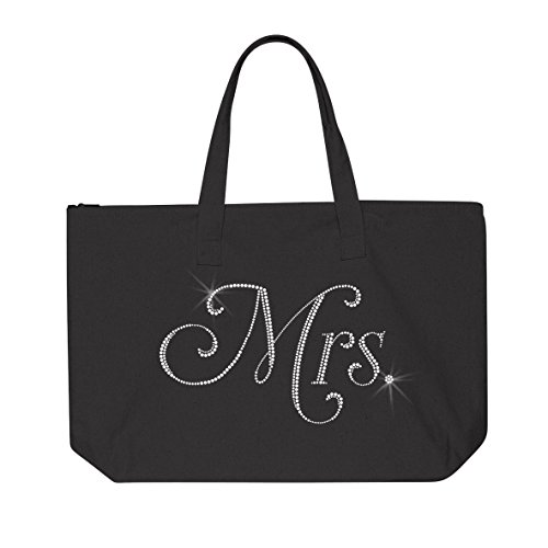 Rhinestone MRS. Tote Bag by Classy Bride Front Zipper Gusset Pocket