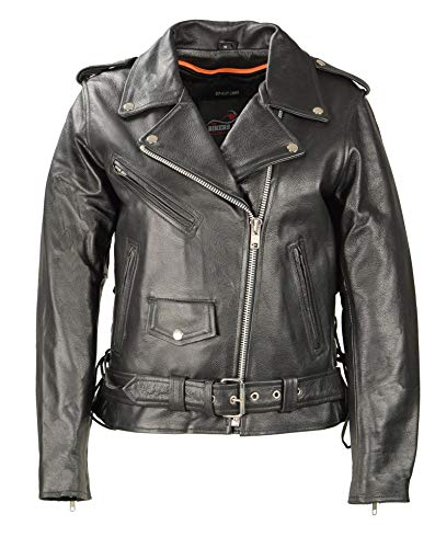 Premium Women Leather Motorcycle Jacket, Highly Comfortable Soft Cowhide Leather, Side Lace Biker Jacket with Safe Pockets and Heavy Duty Zippers (Black, 5XL) (Motorcycle Lace Jacket Womens)