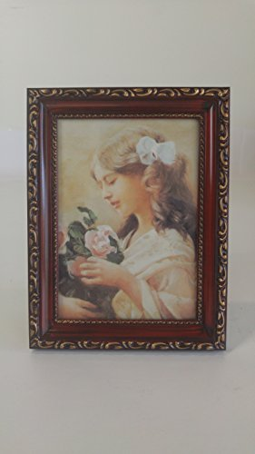 Deluxe Antique Photo Frame 5x7 - Rosewood Color (7 Inch Rosewood Picture Frame)