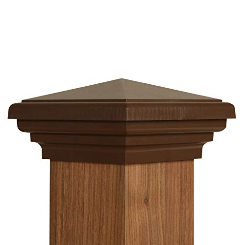 Atlanta Post Caps 4x4 Post Cap | Brown New England Pyramid Style Square Top for Outdoor Fences, Mailboxes & Decks