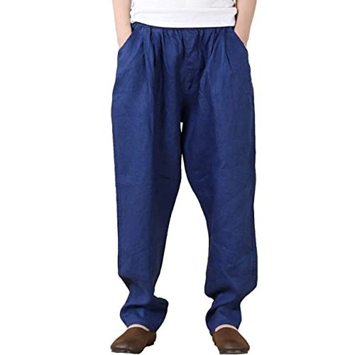 Aeneontrue Women's Casual Linen Pants Trousers with Elastic Waist M