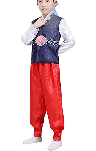 Korean Traditional Costume For Boys (CRB Fashion Korean Traditional Outfit Boys Toddler Teens Mens Dolbok Hanbok Teenagers Kids Children Celebration Top Pants Costume (Height 160cm, Blue))