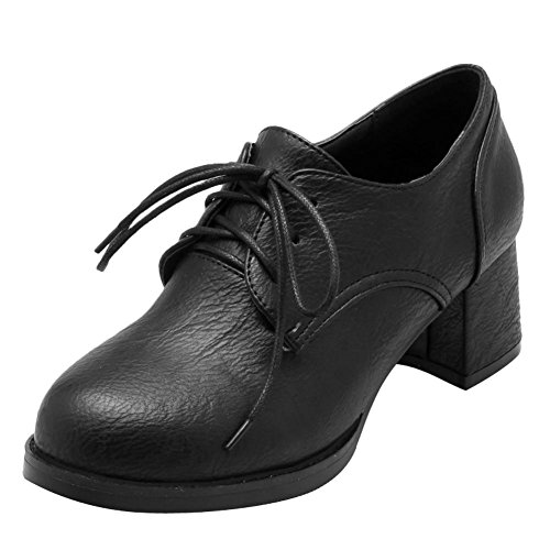 Carolbar Womens Vintage Lace Up Retro Confort Mi-talon Oxfords Chaussures Noir