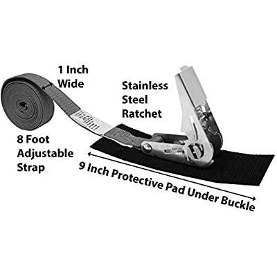 CustomTieDowns 1 Inch x8 Foot Stainless Steel Endless Loop Ratchet Strap (no Hooks), Protective Pad Under Buckle, Polyester Tie-Down Webbing. (Gray): Sports & Outdoors