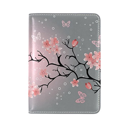 Cherry Blossom Leather Passport Cover Travel Passport Holder Cover Case (Blossom Wallet Cherry)