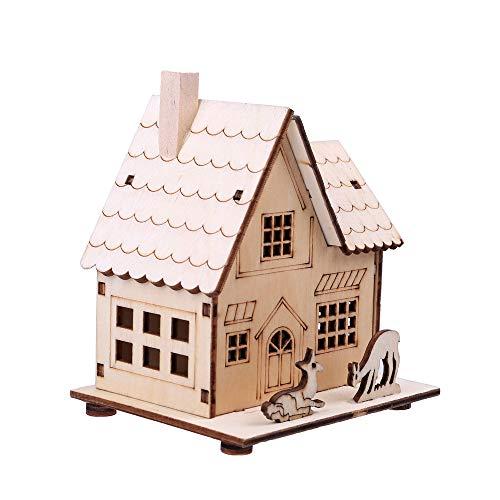 Hot Sale!DEESEE(TM)LED Light Wooden Dolls House Villa Christmas Ornaments Xmas Tree Hanging Decor (B) - Lego Ville Animals