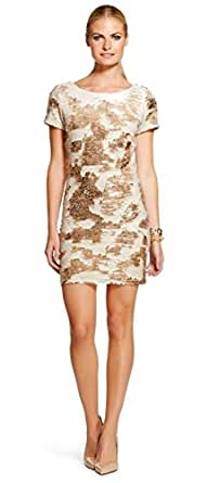 Renn Gold and Blush Sequin Short Sleeve Above The Knee