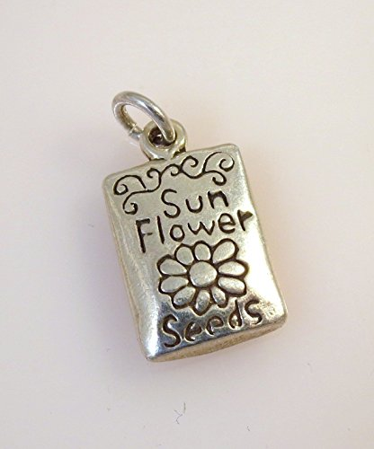 Sterling Silver 3-D SUNFLOWER SEEDS PACKET CHARM Garden Flower NEW 925 GA23 Jewelry Making Supply Pendant Bracelet DIY Crafting by Wholesale Charms