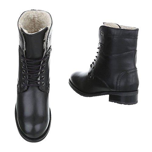 Ital-Design Schnürstiefeletten Leder Damenschuhe Schnürstiefeletten Blockabsatz Schnürer Schnürsenkel Stiefeletten Schwarz