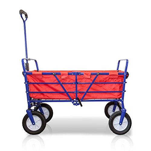 WonderFold Outdoor Next Generation 2-in-1 Heavy Duty Folding Wagon Field Work Garden Utility Cart with Polyester Basket (Sapphire Blue with Red Basket)