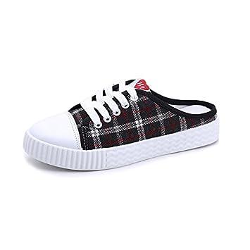 WHLShoes Sandalias y chanclas para mujer Poco Plana Zapatos Blancos Sin Talón Perezoso La Mitad De Zapatillas De Lona Estudiantil Femenina Wild: Amazon.es: ...
