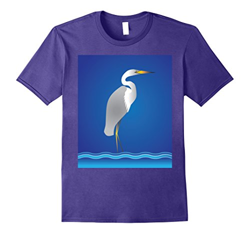Mens Egret or Heron Florida Coast T-Shirt 2XL Purple